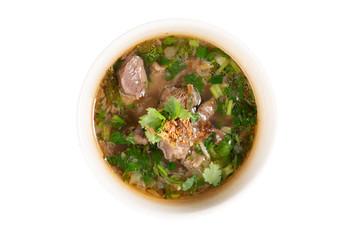Bone soup in bowl.