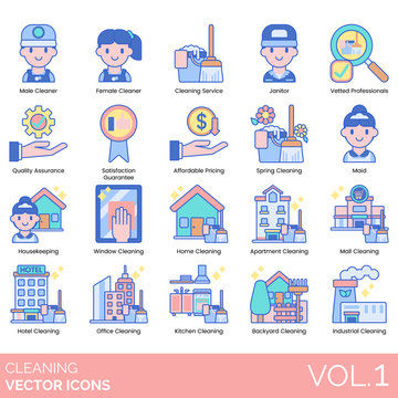 Cleaning icons including male, female cleaner, service, janitor, vetted professional, quality assurance, satisfaction guarantee, affordable pricing, spring, maid, housekeeping, window, home, apartment