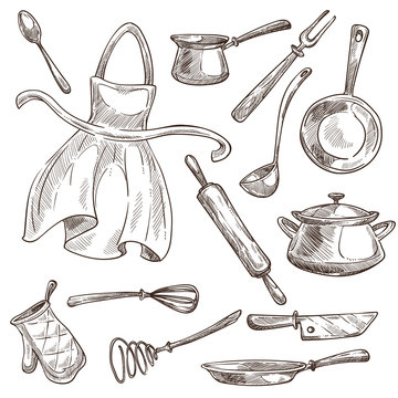 Kitchenware and apron cooking tools saucepan and frypan