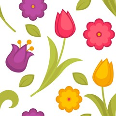Spring flowers tulips seamless pattern Easter holiday