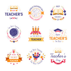 Teachers day isolated icon literacy and education professional holiday
