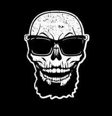 White skull with beard in sunglasses. T-shirt print, design for youth, teenagers.