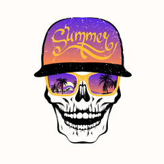 Skull in sunglasses with palm trees and purple cap. T-shirt print, design for youth, teenagers.
