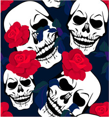 Seamless pattern with white skulls and red rose flowers. T-shirt print, design for youth, teenagers.