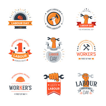 Labour day set of banners with workers and wrenches