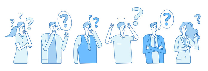 Businessmen searching solution. People hysteria problem panic emotional stress. Persons think with question marks vector concept. Illustration of business solution, businessman stress
