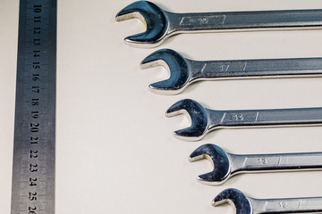 Metal wrenches of different sizes. Tool.