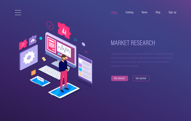 Market research. Analysis, growth chart, research statistic, strategic financial planning.