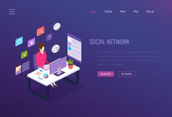 Social network, social media marketing, business analytics, digital online communications.