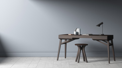 Modern wood study table with chair near grey wall. 3d illustration