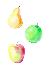 Watercolor illustration of red Apple, green Apple and pear . Pattern isolated on white background