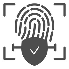 Checked fingerprint solid icon. Finger identification approved vector illustration isolated on white. Check with fingerprint glyph style design, designed for web and app. Eps 10.