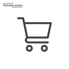Shopping cart line icon. Editable stroke.