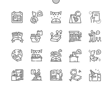 World Book and Copyright Day Well-crafted Pixel Perfect Vector Thin Line Icons 30 2x Grid for Web Graphics and Apps. Simple Minimal Pictogram