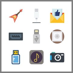 9 electronic icon. Vector illustration electronic set. pendrive and photo camera icons for electronic works