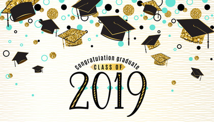 Graduation background class of 2019 with graduate cap, black and gold color, glitter dots on a white golden line striped backdrop. Hat thrown up. Vector illustration
