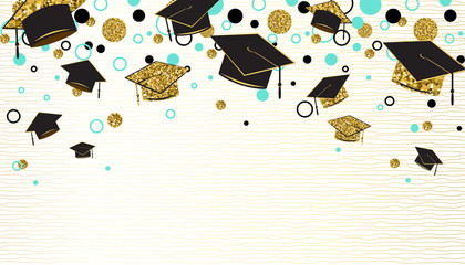 Graduation word with graduate cap, black and gold color, glitter dots on a white background. Congratulation graduates class of. Design for greeting, banner, invitation. Vector illustration