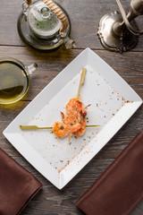 Tiger shrimp skewers