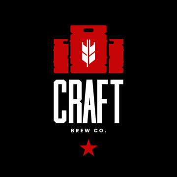 Modern craft beer drink vector logo sign for bar, pub, store, brewhouse or brewery isolated on black background. Premium quality keg logotype illustration. Brewing fest fashion t-shirt badge design.