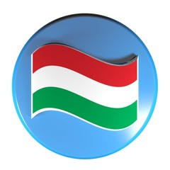 Blue circle push button flag of Hungary - 3D rendering illustration