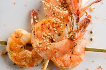 Grilled tiger shrimps
