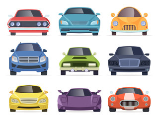 Photo sur Aluminium Cartoon voitures Cars front view. Taxi truck bus van vehicles transport cartoon collection. Illustration of car and taxi front, auto transportation