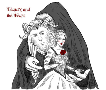 Beauty and the Beast. Characters on white isolated background. Graphic gothic vector illustration
