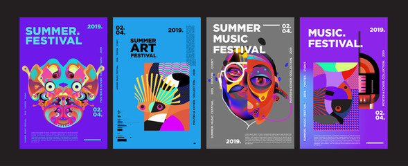 Lamas personalizadas con motivos artísticos con tu foto Summer Colorful Art and Music Festival Poster and Cover Template for Event, Magazine, and Web Banner.