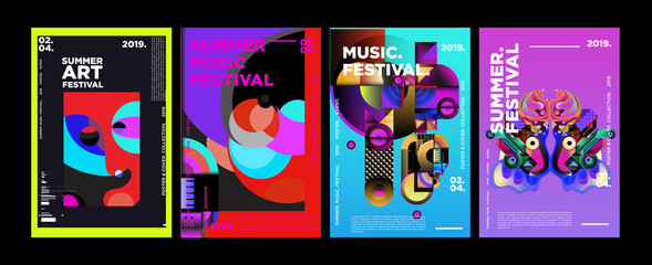 Obraz Summer Colorful Art and Music Festival Poster and Cover Template for Event, Magazine, and Web Banner. - fototapety do salonu