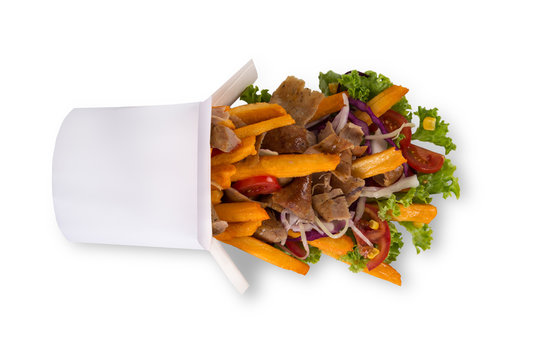 Turkish Kebab box with french fries isolated on white background.