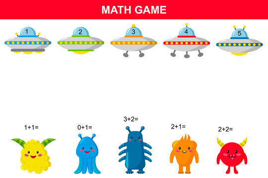 Math educational game for kids. Printable addition activities worksheet. Space theme. Aliens and UFO. Vector illustration.