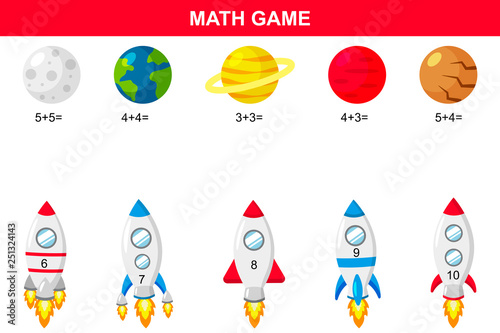 photo regarding Planets Printable named Math enlightening recreation for young children. Printable addition