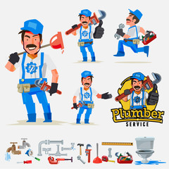 plumber man set in actions with typographic logo - vector illustration