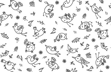 Vector cute, seamless pattern of  birds cartoons, black silhouettes isolated on white.