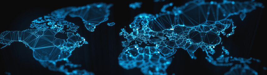 Digital mainlands from space. Cities and countries connected by plexus light lines. Virtual continents. Creative technology, ultra wide background. Concept of transfering information. 3d rendering Fotoväggar