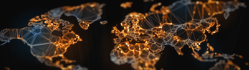 Digital mainlands from space. Cities and countries connected by plexus light lines. Virtual continents. Creative technology, ultra wide background. Concept of transfering information. 3d rendering