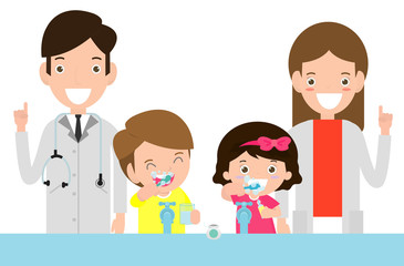 illustration of Kids Brushing a Tooth, Doctor and kids. Doctor standing together with children take care of and clean a  tooth. cartoon characters - Vector