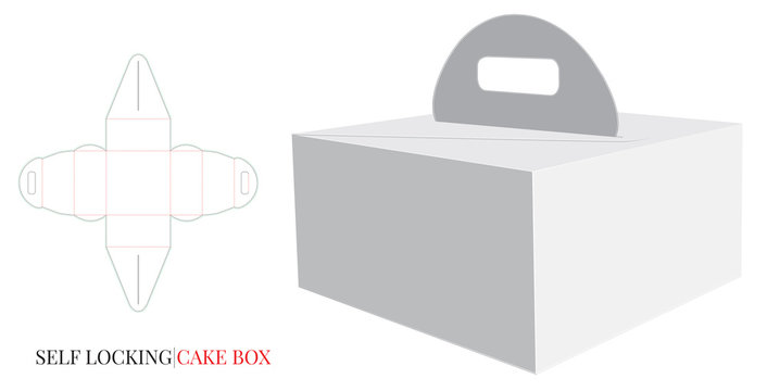 Paper Box with Handle Template, Vector with die cut / laser cut layers. Delivery Cake Box, Self locking Box. White, blank, clear, isolated Cake mockup on white background Packaging Design,Cut and Fold