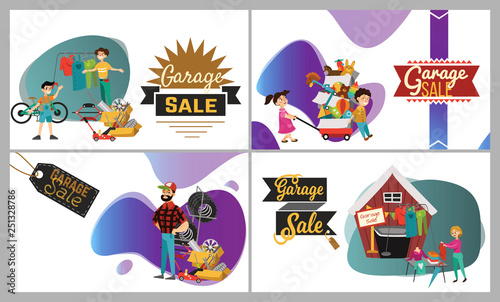 Illustration Of Kids Manning A Garage Sale Booth Stock Image And