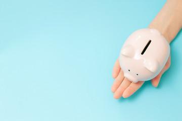 Piggy bank money on blue background