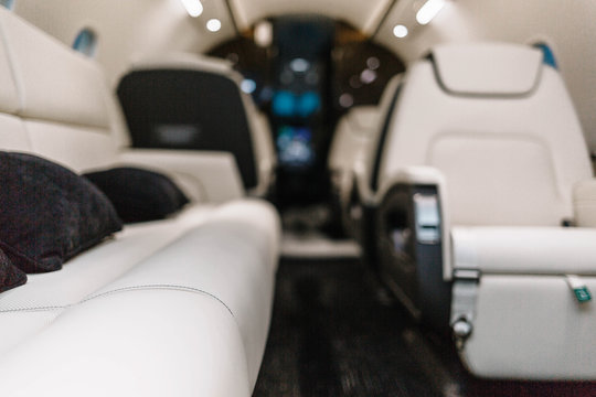 Business jet aircraft interior with leather seats