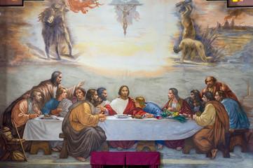 L'ultima cena di gesù cristo, affresco in chiesa
