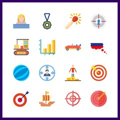 16 competition icon. Vector illustration competition set. sailing boat and russian icons for competition works