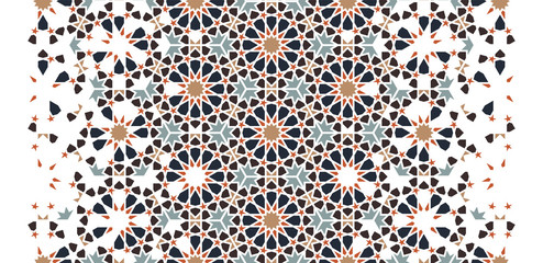 Arabesque seamless vector pattern. Geometric halftone texture with color tile disintegration or breaking