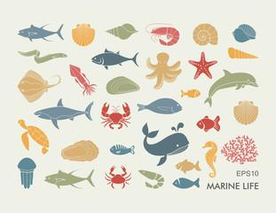 Marine life icons. Silhouettes of sea inhabitants