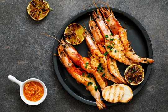 Grilled butterflied prawns