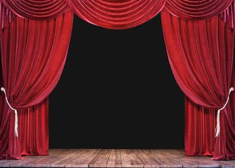 Empty theater stage with wood plank floor and open red curtains 3D Rendering