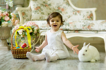 Beautiful girl with a Easter Bunny.