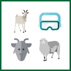 4 funny icon. Vector illustration funny set. goat and sheep icons for funny works