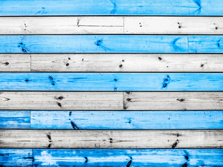 Creative idea for background. wooden boards white and blue, sea